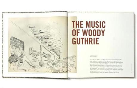 "The ""Woody at 100"" design is in the form of an LP-size book with lyric sheets and drawings by Guthrie."